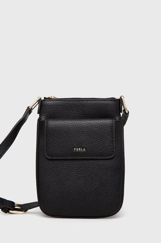 čierna Furla - Kožená kabelka BABYLON VERTI Dámsky