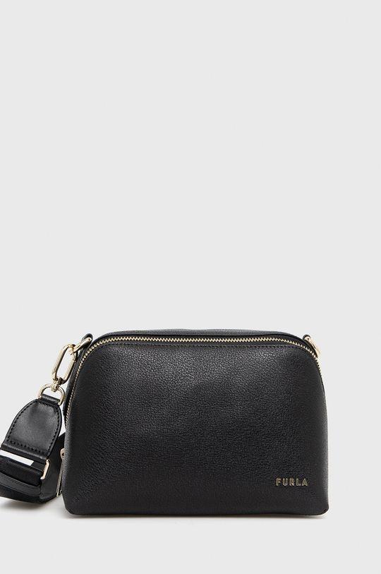 čierna Furla - Kožená kabelka Amica S Dámsky