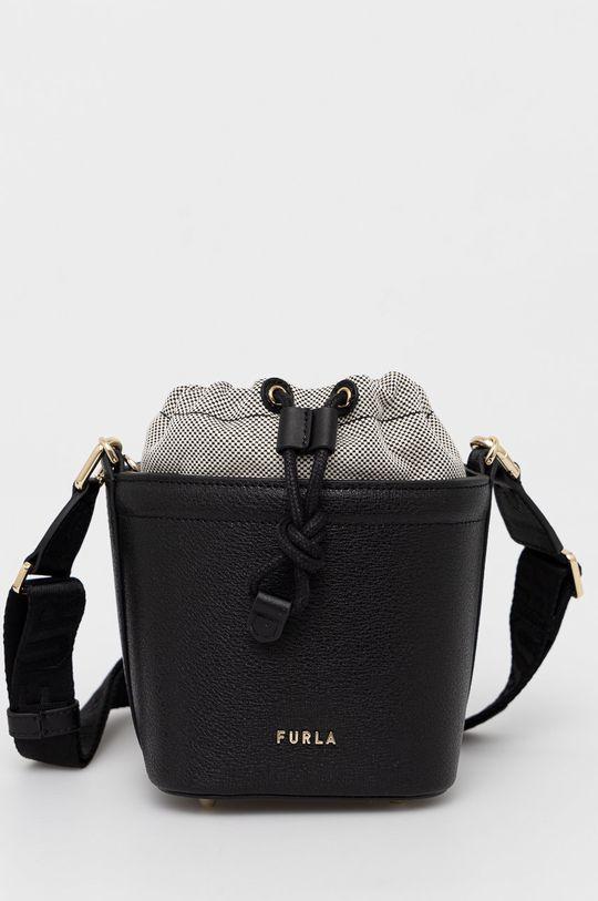 černá Furla - Kožená kabelka Vertigine Dámský