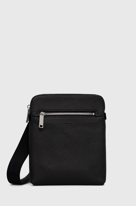 čierna Boss - Kožená taška Pánsky