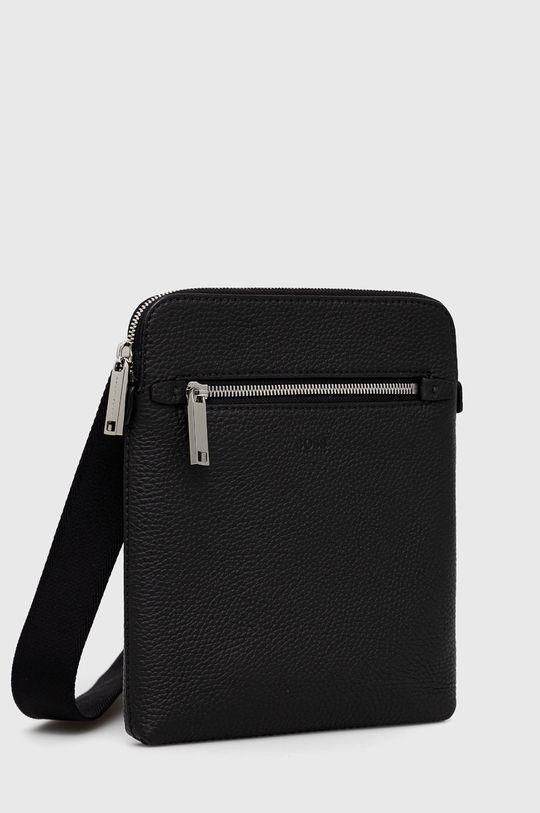 Boss - Kožená taška čierna