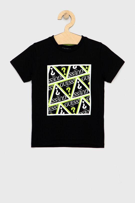czarny Guess - T-shirt bawełniany dziecięcy Chłopięcy