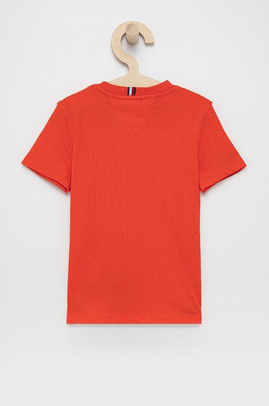 Tommy Hilfiger - T-shirt bawełniany dziecięcy pomarańczowy