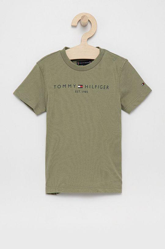 jasny oliwkowy Tommy Hilfiger - T-shirt bawełniany dziecięcy Chłopięcy