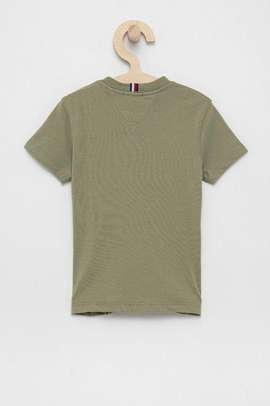 Tommy Hilfiger - T-shirt bawełniany dziecięcy jasny oliwkowy
