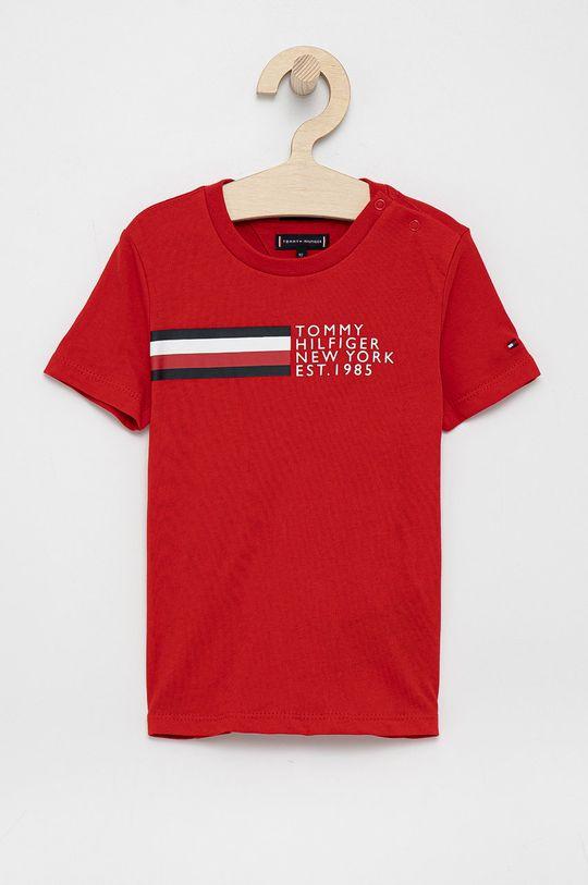 czerwony Tommy Hilfiger - T-shirt bawełniany dziecięcy Chłopięcy