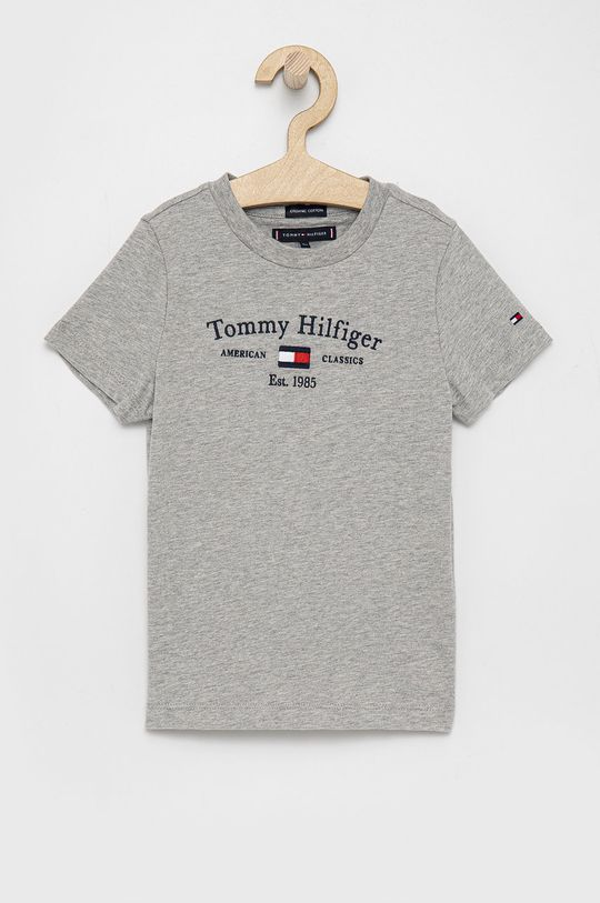 szary Tommy Hilfiger - T-shirt bawełniany dziecięcy Chłopięcy
