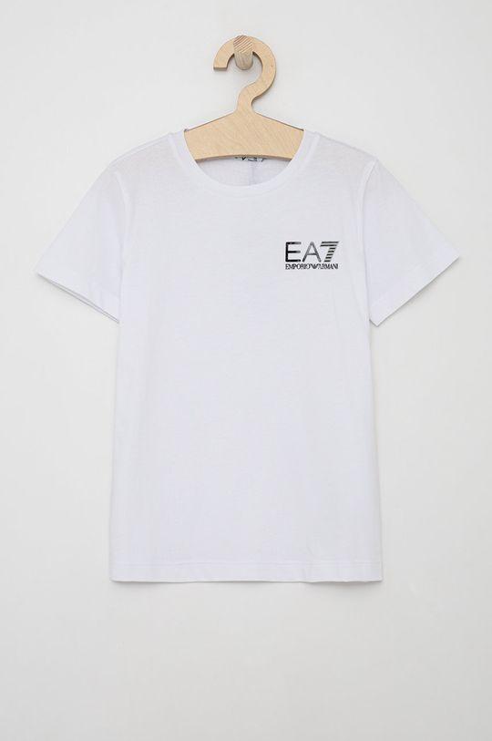 biały EA7 Emporio Armani - T-shirt bawełniany dziecięcy Chłopięcy