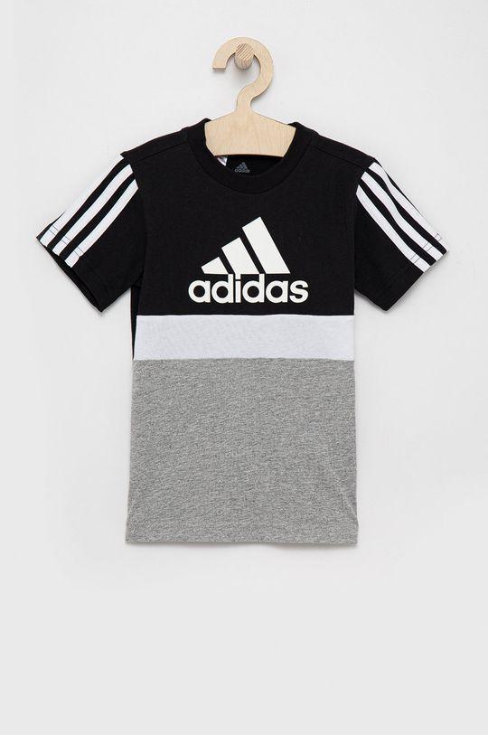 czarny adidas - T-shirt bawełniany dziecięcy Chłopięcy