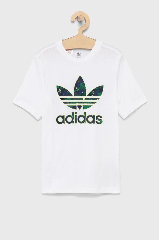 biały Adidas Originals - T-shirt bawełniany dziecięcy Chłopięcy