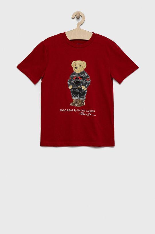 czerwony Polo Ralph Lauren - T-shirt bawełniany dziecięcy Chłopięcy