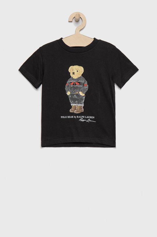 czarny Polo Ralph Lauren - T-shirt bawełniany dziecięcy Chłopięcy