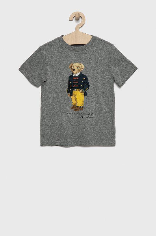szary Polo Ralph Lauren - T-shirt bawełniany dziecięcy Chłopięcy