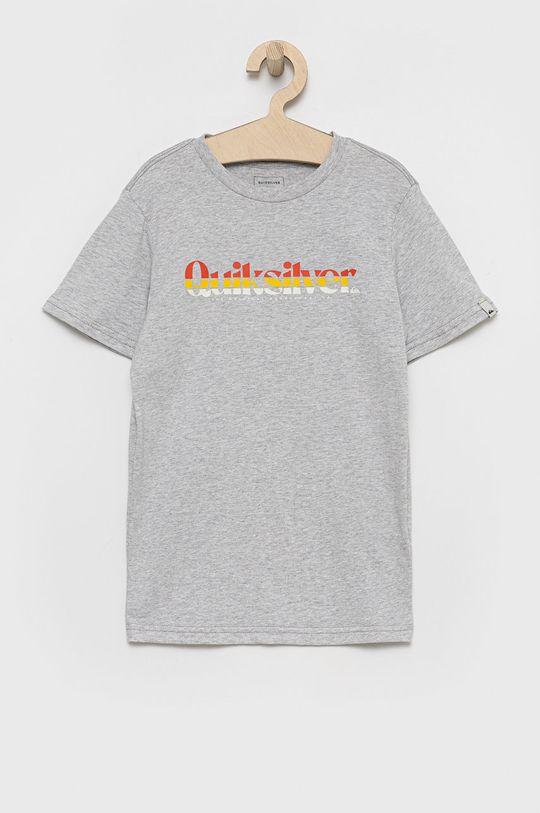 szary Quiksilver - T-shirt bawełniany dziecięcy Chłopięcy
