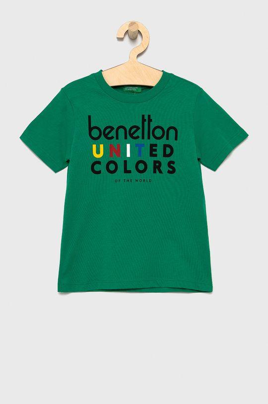 zielony United Colors of Benetton - T-shirt bawełniany dziecięcy Chłopięcy