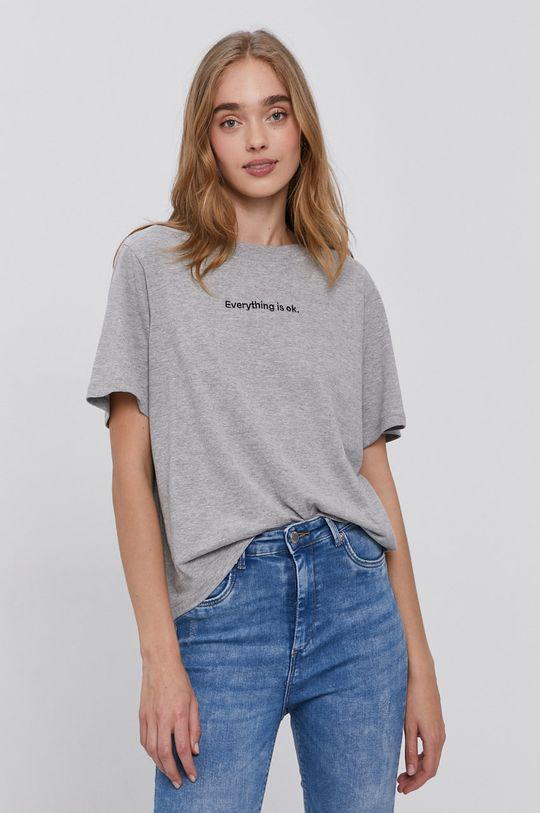 jasny szary Jacqueline de Yong - T-shirt Damski