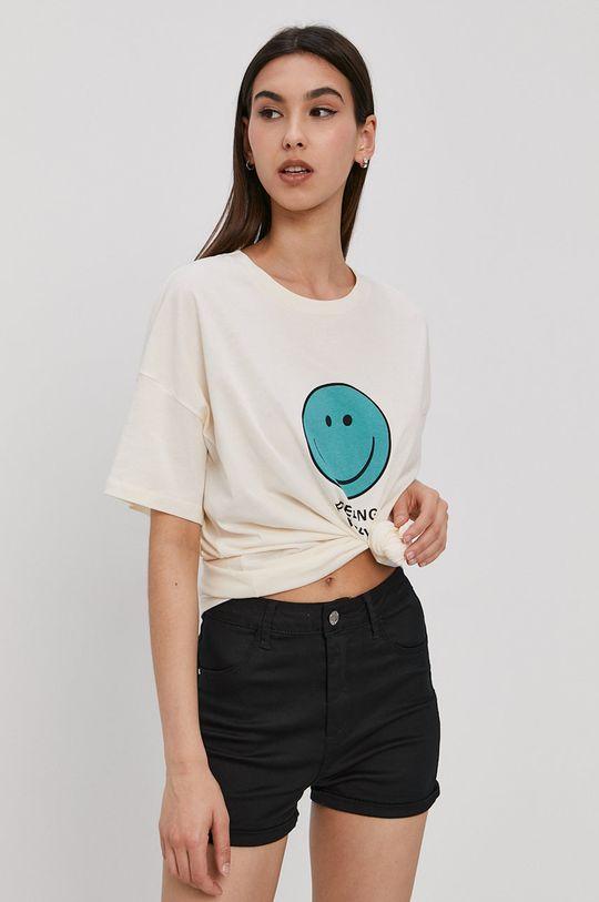 piaskowy Noisy May - T-shirt Damski