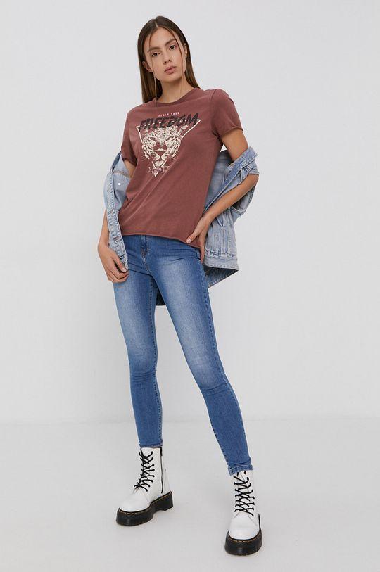Only - T-shirt bawełniany fiołkowo różowy