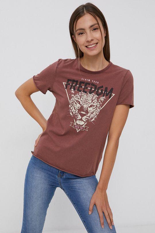 fiołkowo różowy Only - T-shirt bawełniany