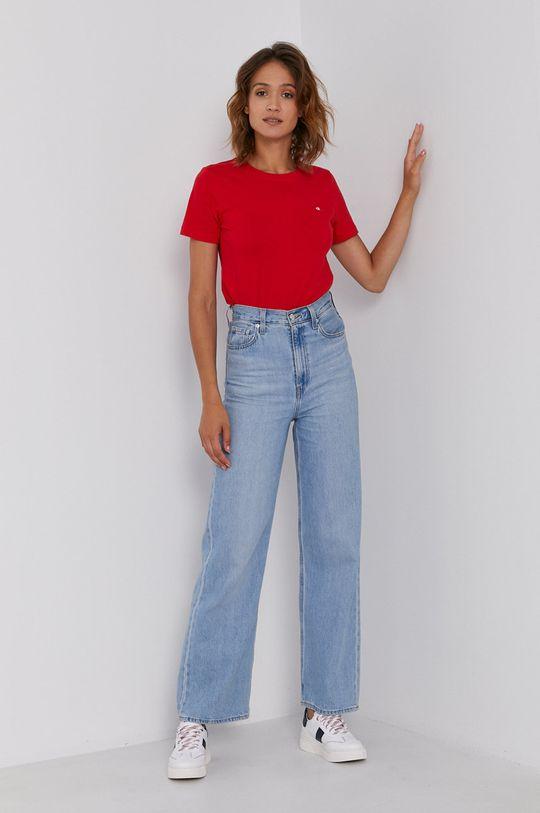 Calvin Klein - T-shirt bawełniany czerwony