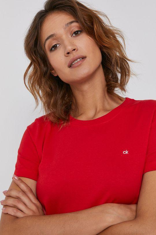 czerwony Calvin Klein - T-shirt bawełniany