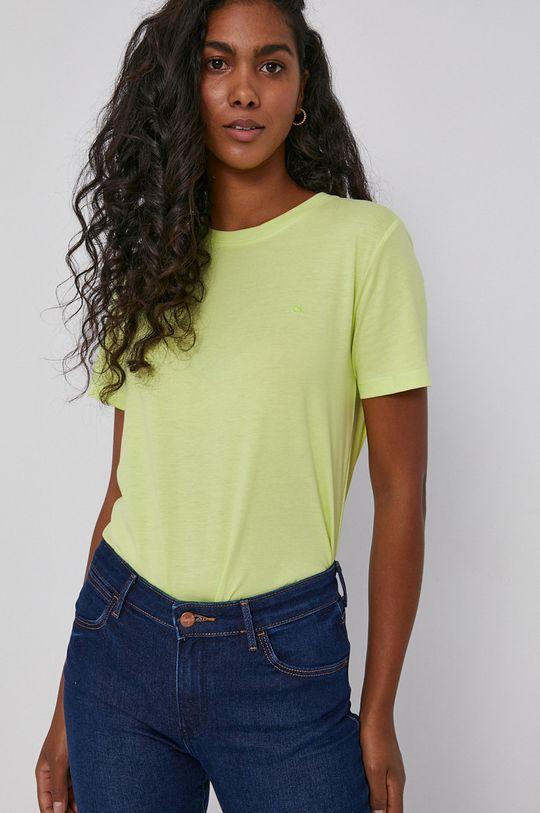 żółto - zielony Calvin Klein - T-shirt bawełniany Damski