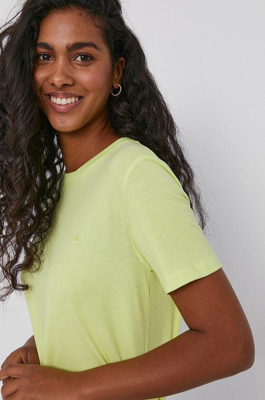 żółto - zielony Calvin Klein - T-shirt bawełniany