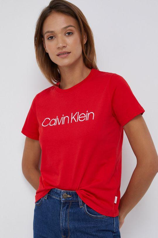 czerwony Calvin Klein - T-shirt bawełniany Damski