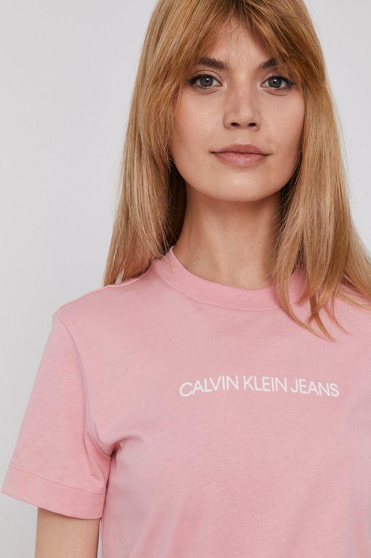 różowy Calvin Klein Jeans - T-shirt Damski