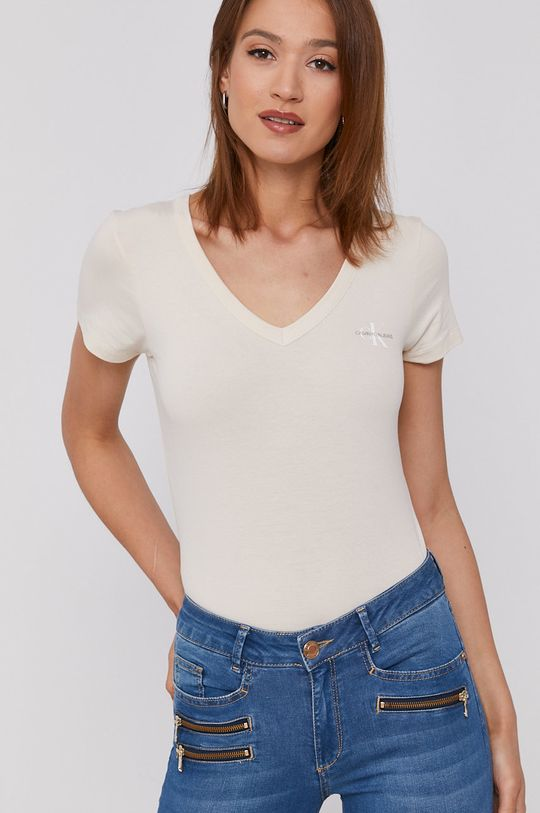 krémová Calvin Klein Jeans - Tričko Dámsky