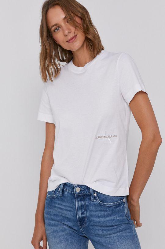 bílá Calvin Klein Jeans - Bavlněné tričko Dámský