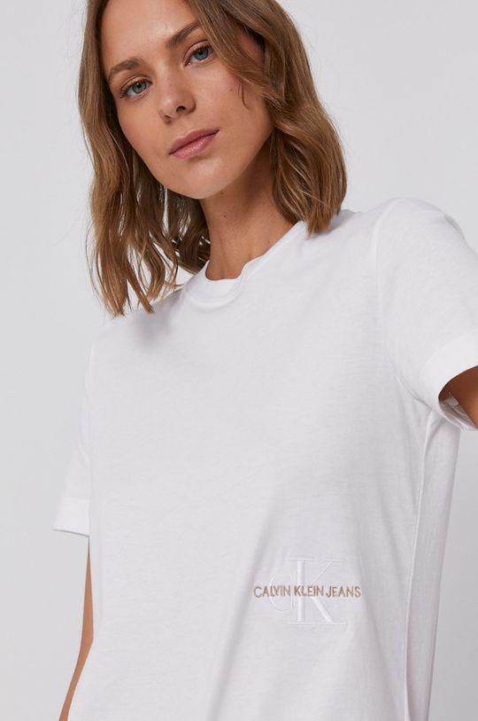 bílá Calvin Klein Jeans - Bavlněné tričko