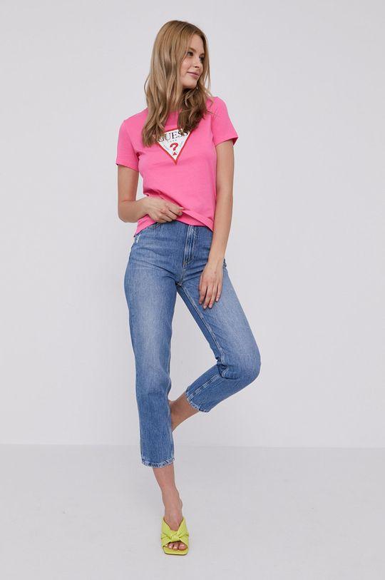 ostry różowy Guess - T-shirt Damski