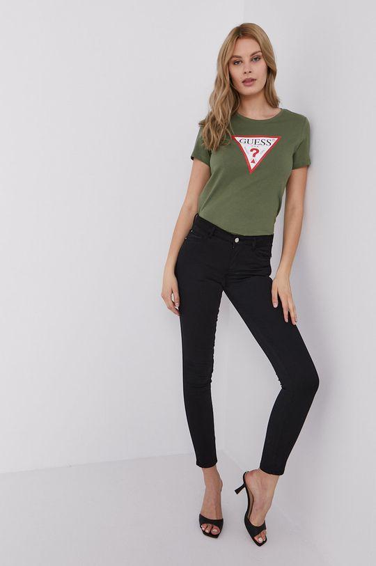 Guess - T-shirt ciemny zielony