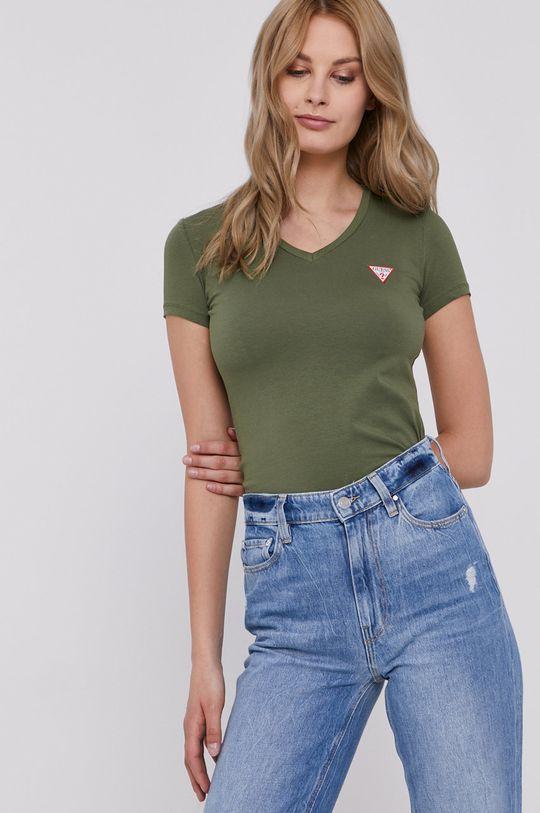 ciemny zielony Guess - T-shirt Damski