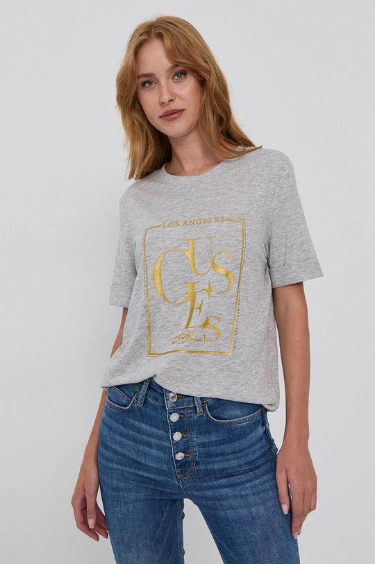 svetlosivá Guess - Bavlnené tričko