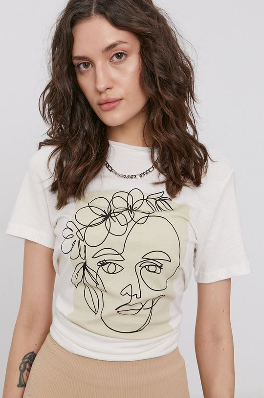 alb Vero Moda - Tricou din bumbac De femei