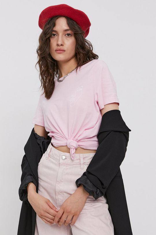 roz Vero Moda - Tricou din bumbac