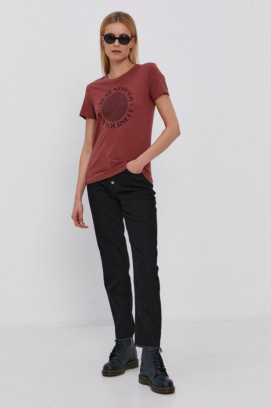 Jacqueline de Yong - T-shirt kasztanowy