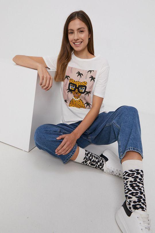 biały Jacqueline de Yong - T-shirt bawełniany Damski