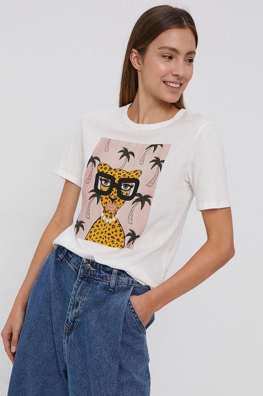 Jacqueline de Yong - T-shirt bawełniany biały