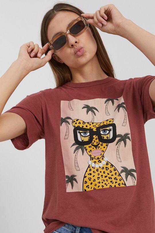 ružovofialová Jacqueline de Yong - Bavlnené tričko Dámsky