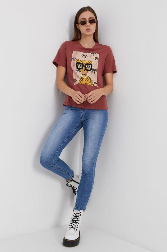 Jacqueline de Yong - Bavlnené tričko ružovofialová