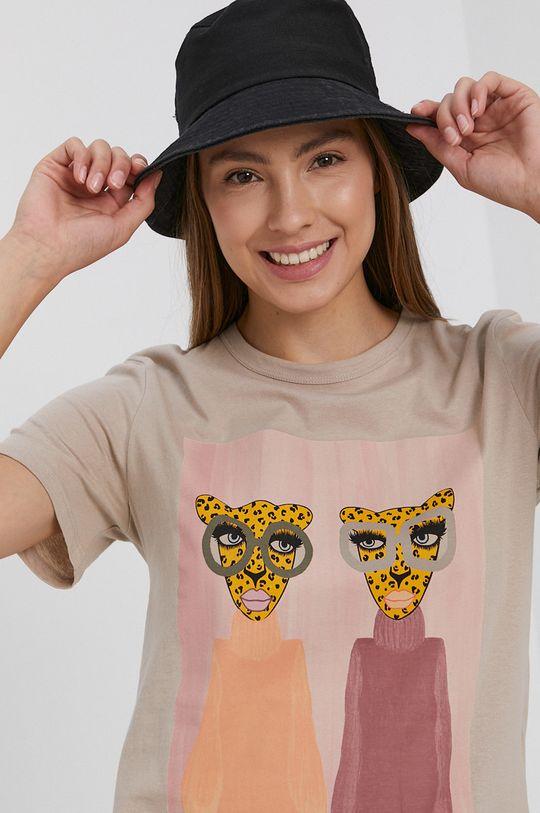 beżowy Jacqueline de Yong - T-shirt bawełniany Damski