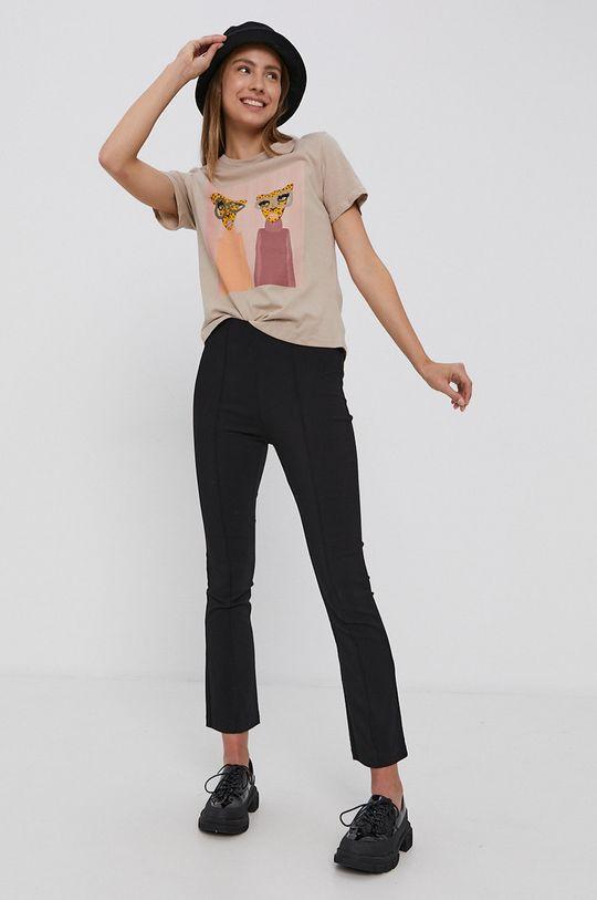 Jacqueline de Yong - T-shirt bawełniany beżowy