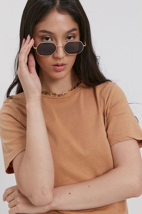 piaskowy Jacqueline de Yong - T-shirt bawełniany