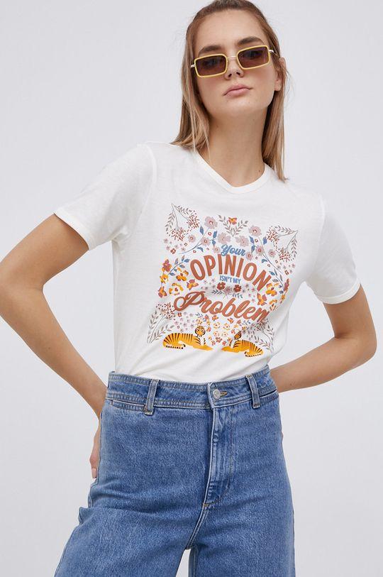 smetanová Jacqueline de Yong - Bavlněné tričko Dámský