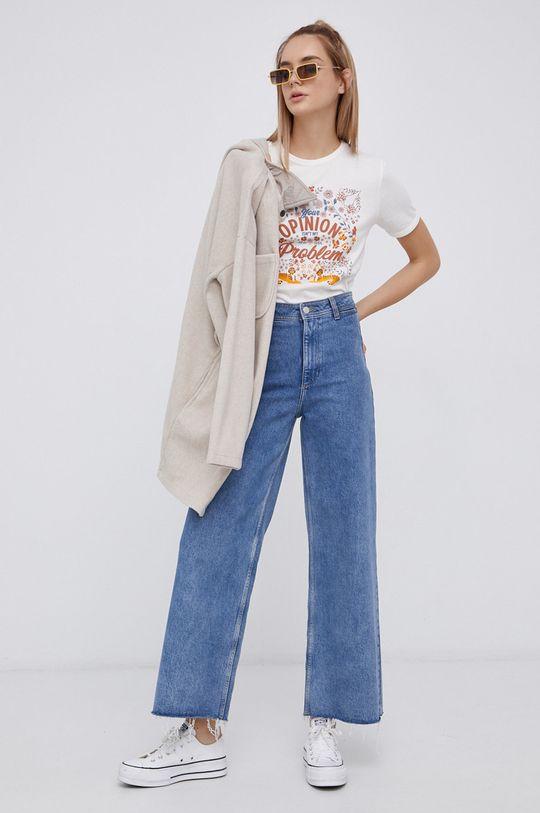 Jacqueline de Yong - Bavlněné tričko smetanová