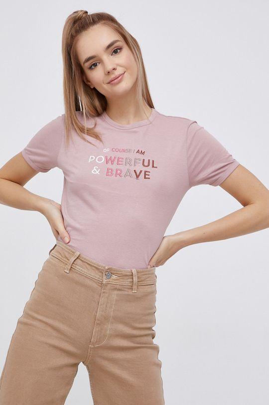 starorůžová Jacqueline de Yong - Bavlněné tričko Dámský