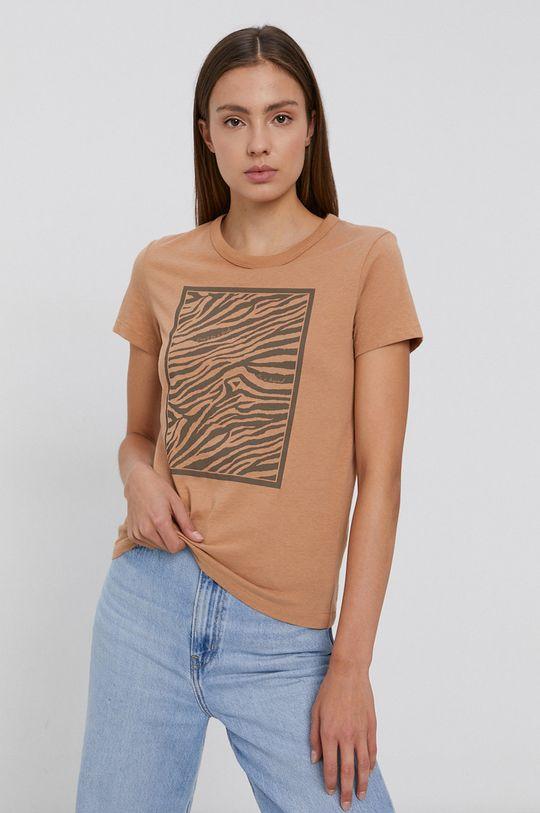 piaskowy Jacqueline de Yong - T-shirt bawełniany Damski